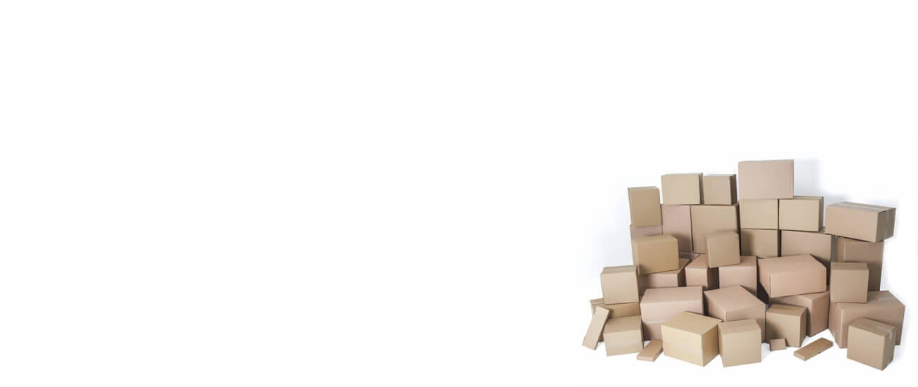 Several stacks of corrugated boxes