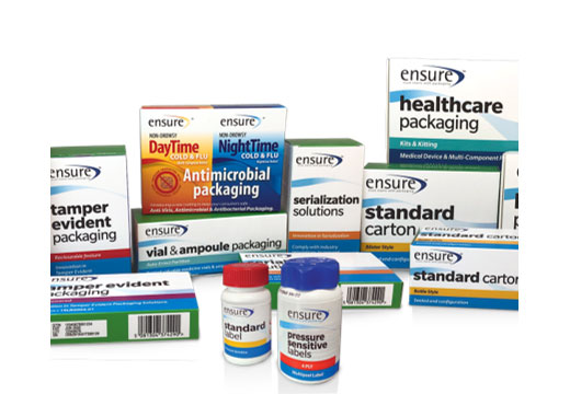 Healthcare Packaging - Antimicrobial packaging, tamper evident packaging, pressure sensitive labels, standard carton, sterilization solutions, vial and ampoule packaging