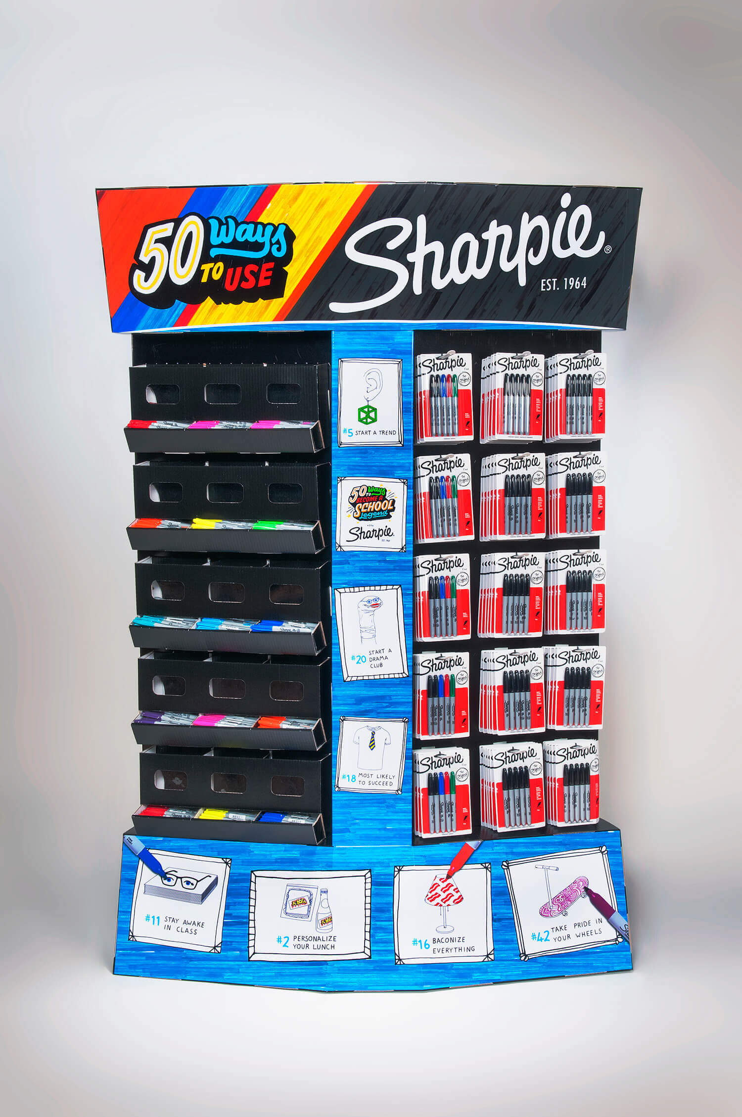 Sharpie marker and pen retail product display.