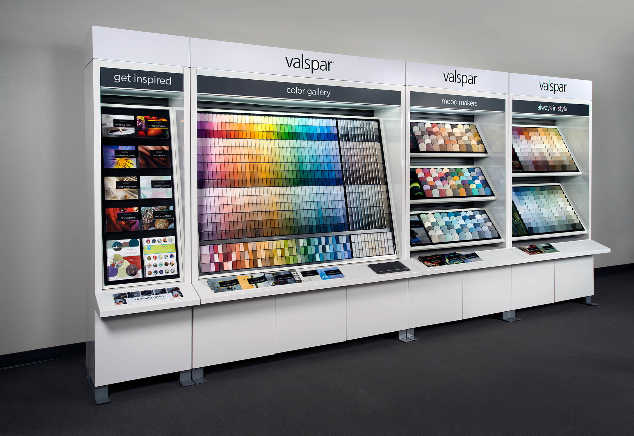 A view of a Valspar paint permanent retail display.