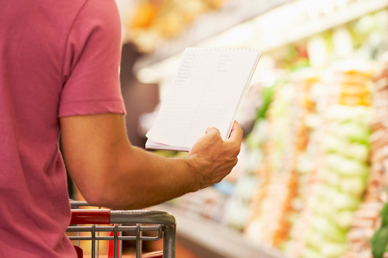 Man with a shopping list standing in front of a grocery store produce aisle.