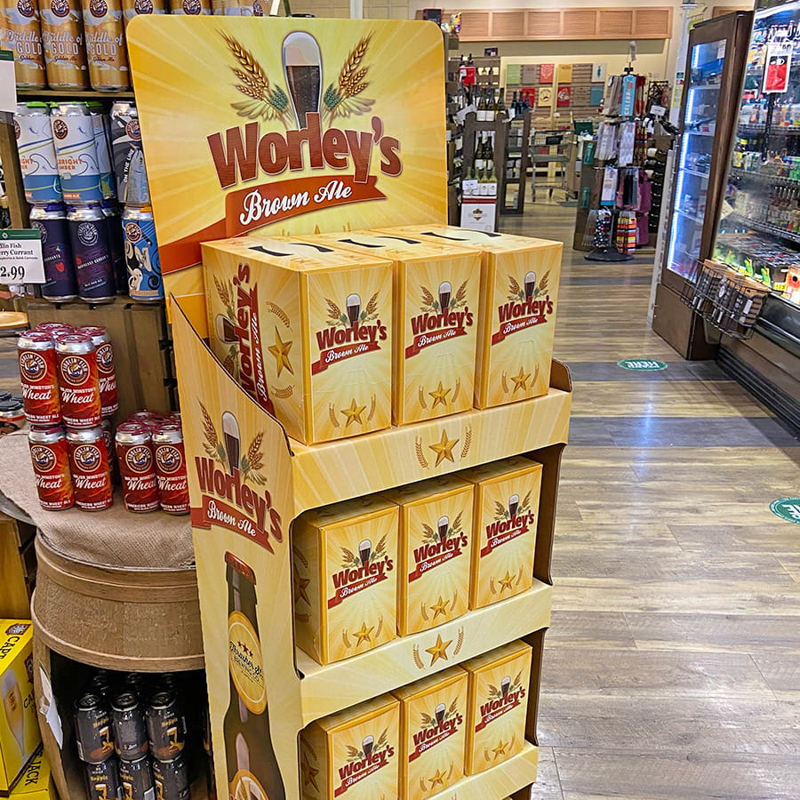 An in-store display of Worley's Brown Ale