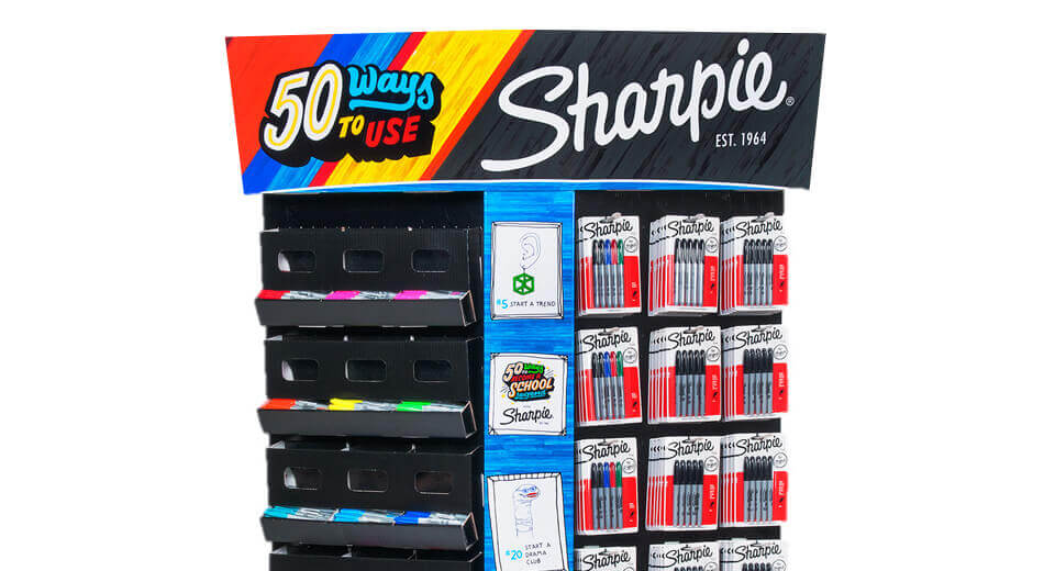 A Sharpie displays stand