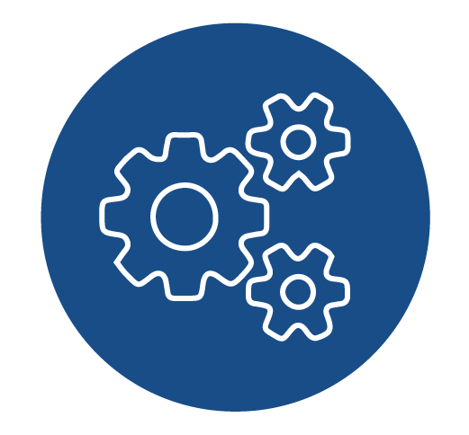 Parts & Service Icon: Install Start-up Dark Blue Circle