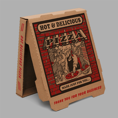 Example of corrugated custom printed pizza box