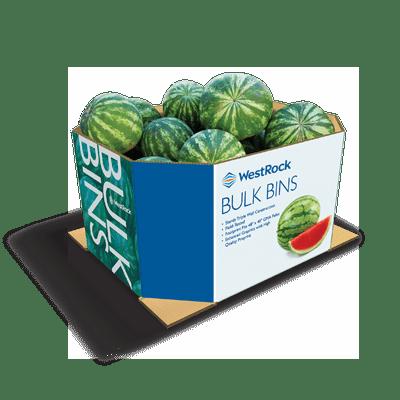 Um contêiner de caixa a granel grande azul e branca acondicionando melancias.