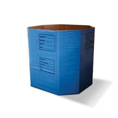 A large blue six sided ComboPac corrugated container.