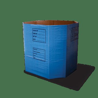 Um contêiner de papelão ondulado ComboPac azul grande de seis lados.