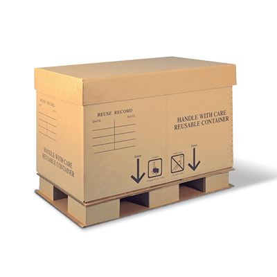A brown Cordeck corrugated container sitting on a shipping pallet.