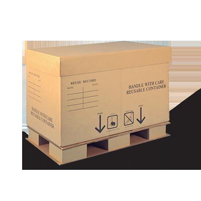 Um contêiner de papelão ondulado Cordeck marrom sobre um palete para transporte.