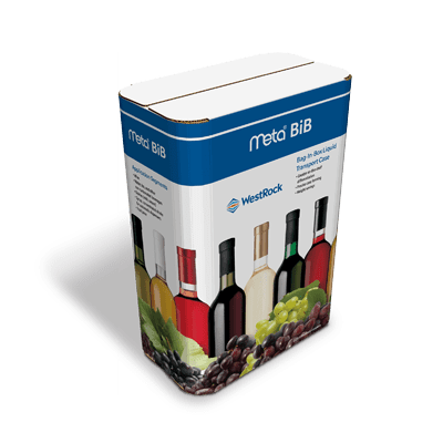 A tall white and blue Meta Bag in Box (BiB) container for wine.
