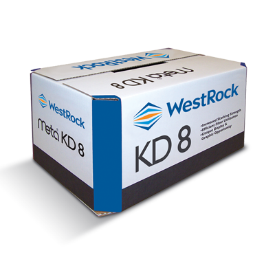 A white and blue Meta KD8 corrugated container.