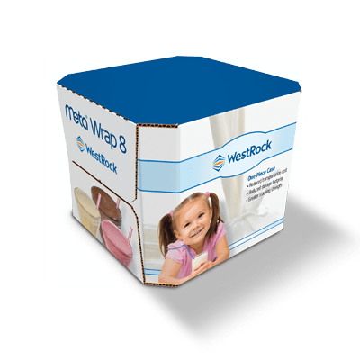 A large white and blue Meta Wrap 8 container for pediatric milk.