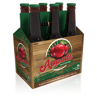 A rendering of Appeal hard cider folding carton packaging for bottles.