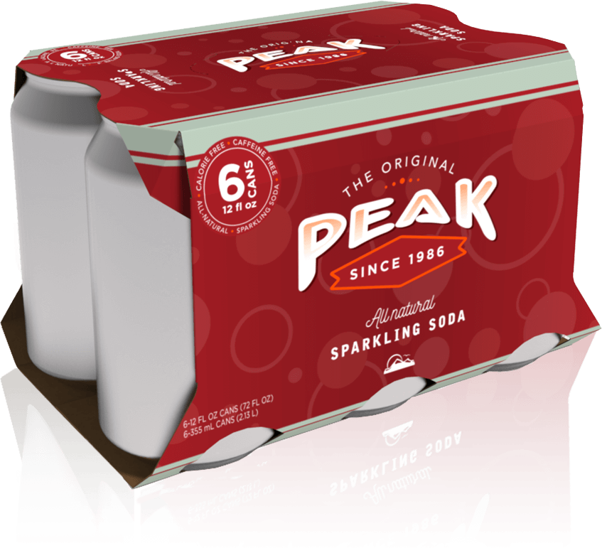 A rendering of Peak sparking soda folding carton packaging for cans.