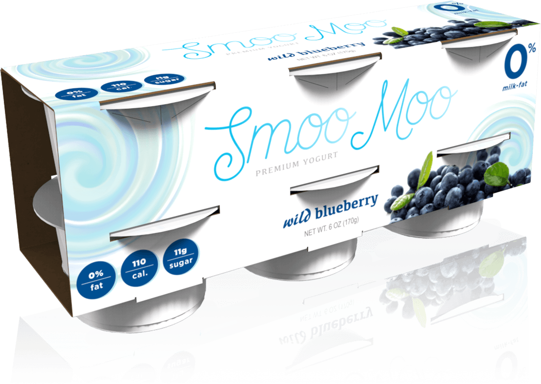 A rendering of Smoo Moo yogurt folding carton packaging for cups.