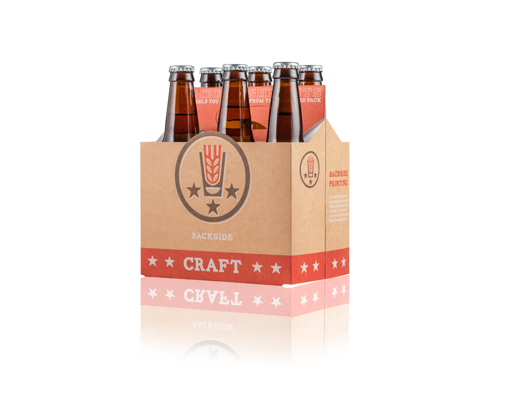 A brown and red craft beer folding carton, holding six bottles.