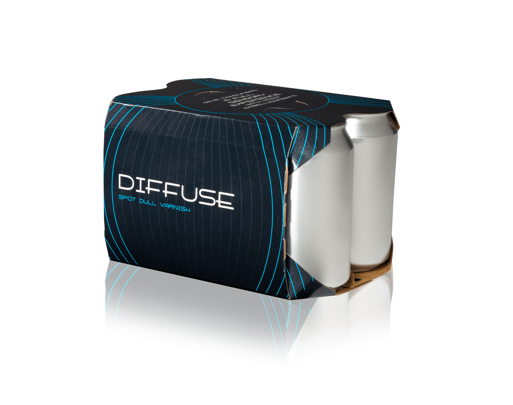 A blue and black Diffuse folding carton holding six silver cans.