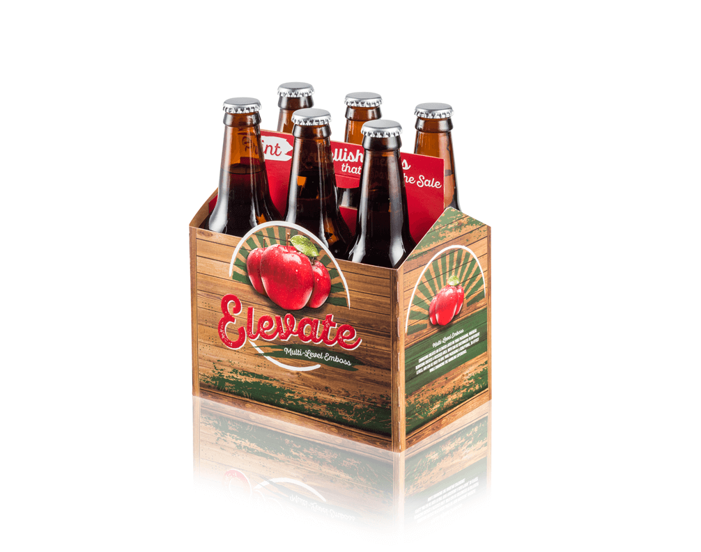 A brown and red folding carton for Elevate beer, holding six bottles.