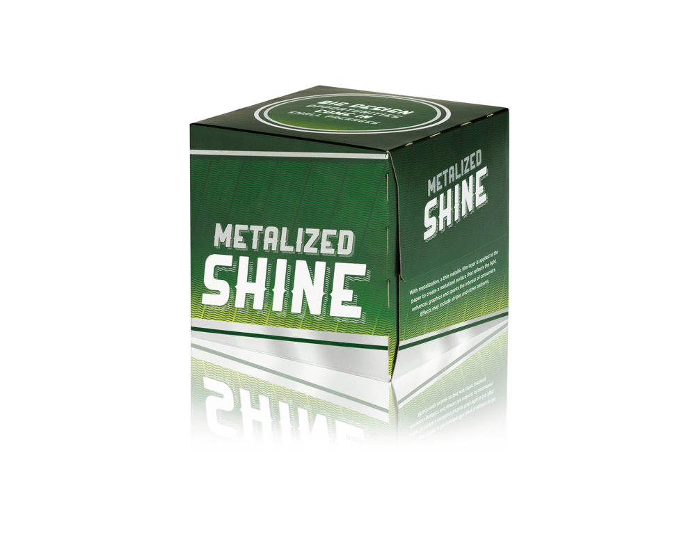 A silver and green Metalized Shine folding carton for cans and bottles.