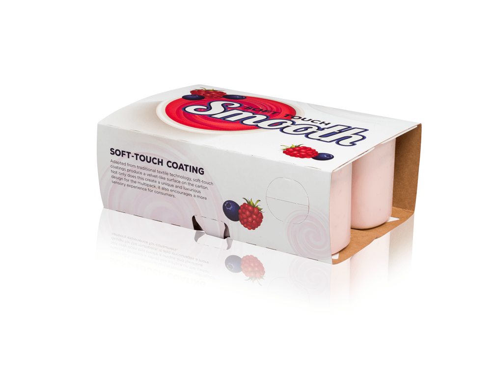 A white and red folding carton for cups.
