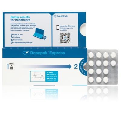 Uma embalagem de solução de aderência Dosepak Express.