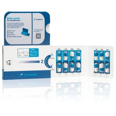 A Dosepak adherence solution package.