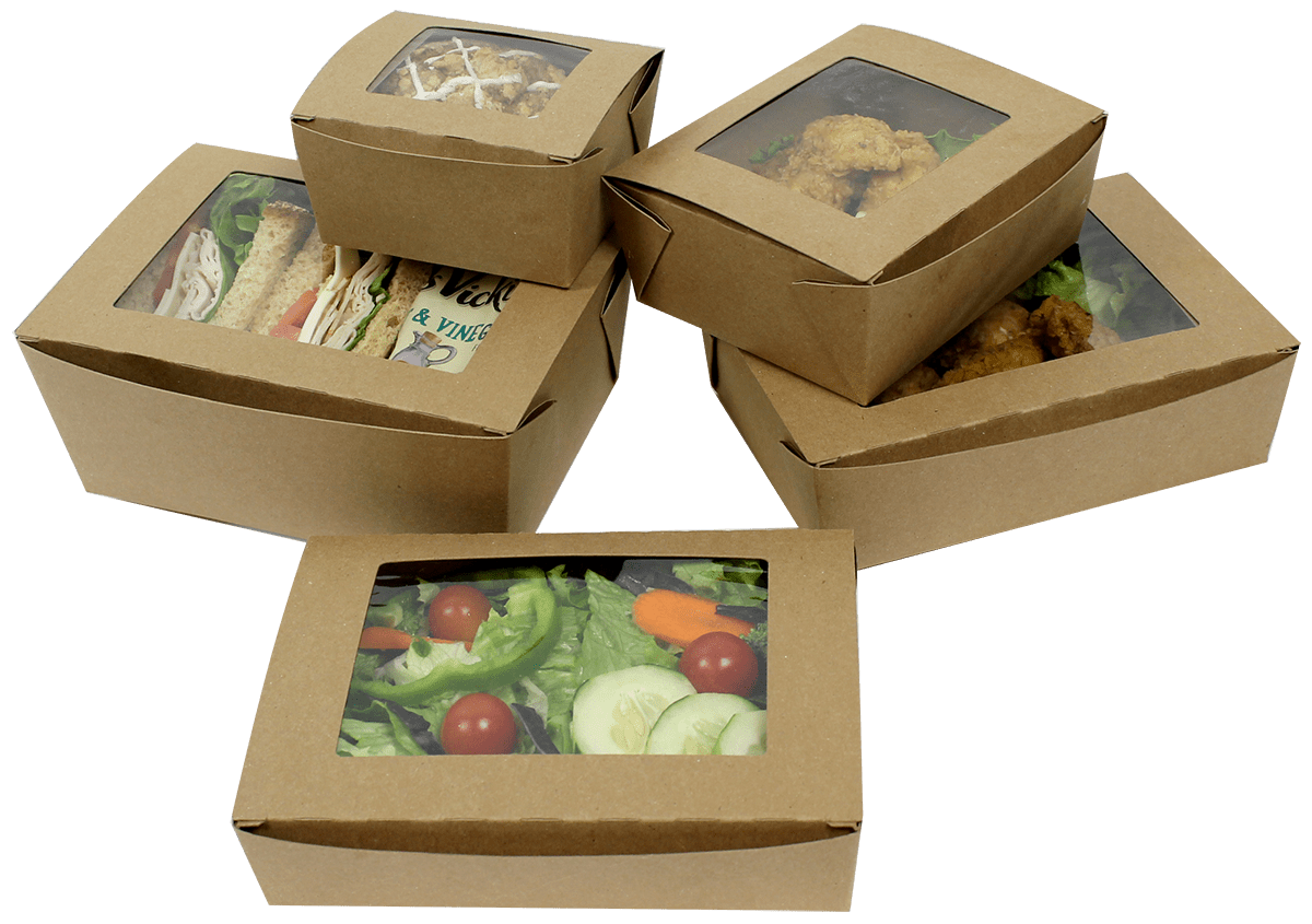Disposable food containers with window frame