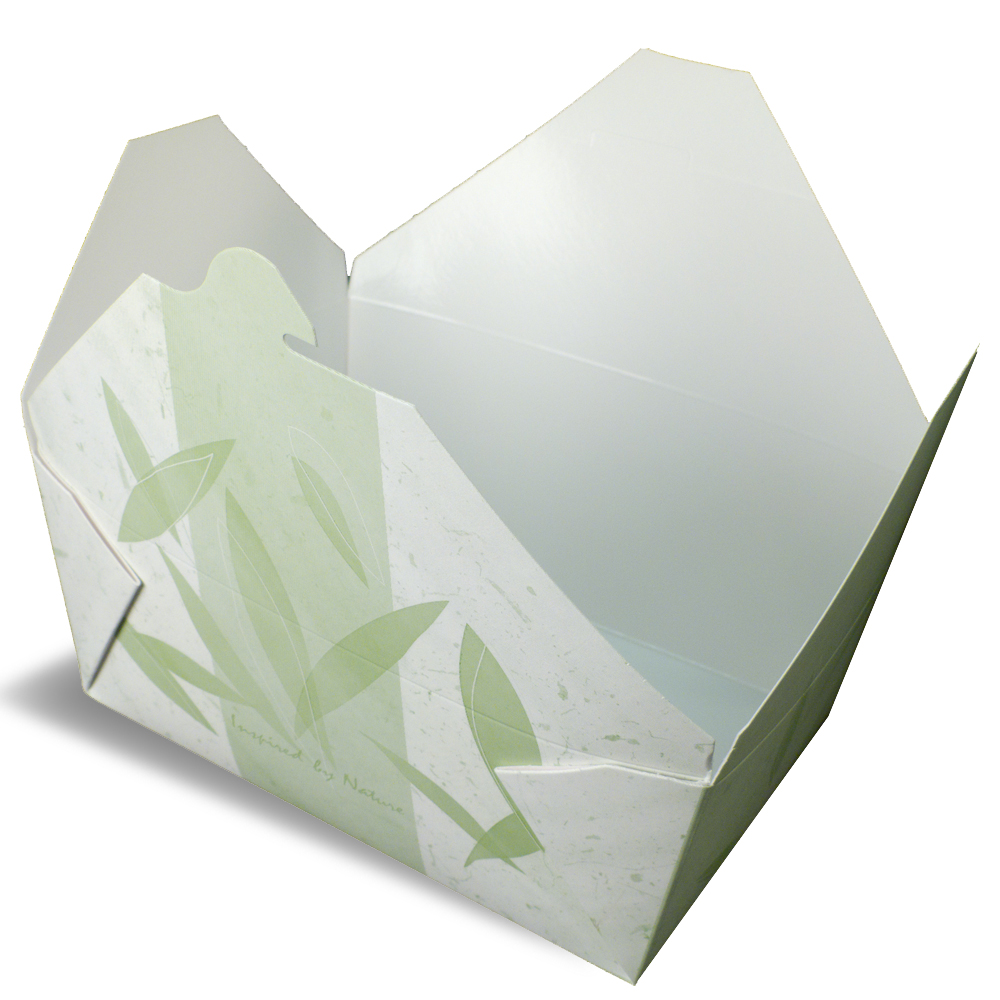 A white rendering of Bio-Pak Inspired by Nature folding carton container.