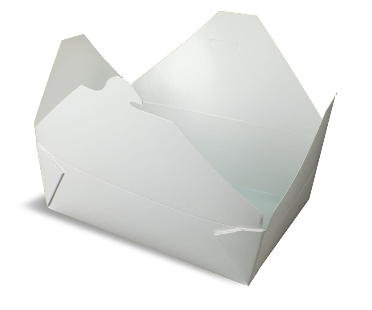 A white rendering of Bio-Pak folding carton container.