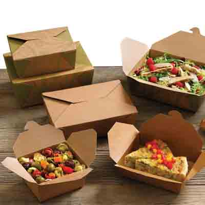 A group of brown Bio-Plus earth folding carton containers holding food.