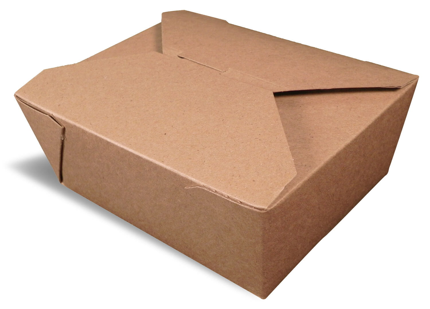 A brown rendering of a closed Bio-Plus earth folding carton container.