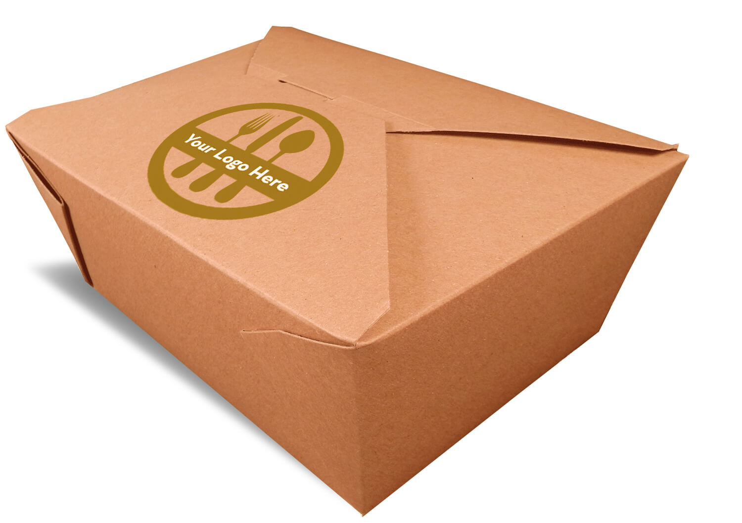 A brown rendering of a closed Bio-Plus earth folding carton container with a printed logo.