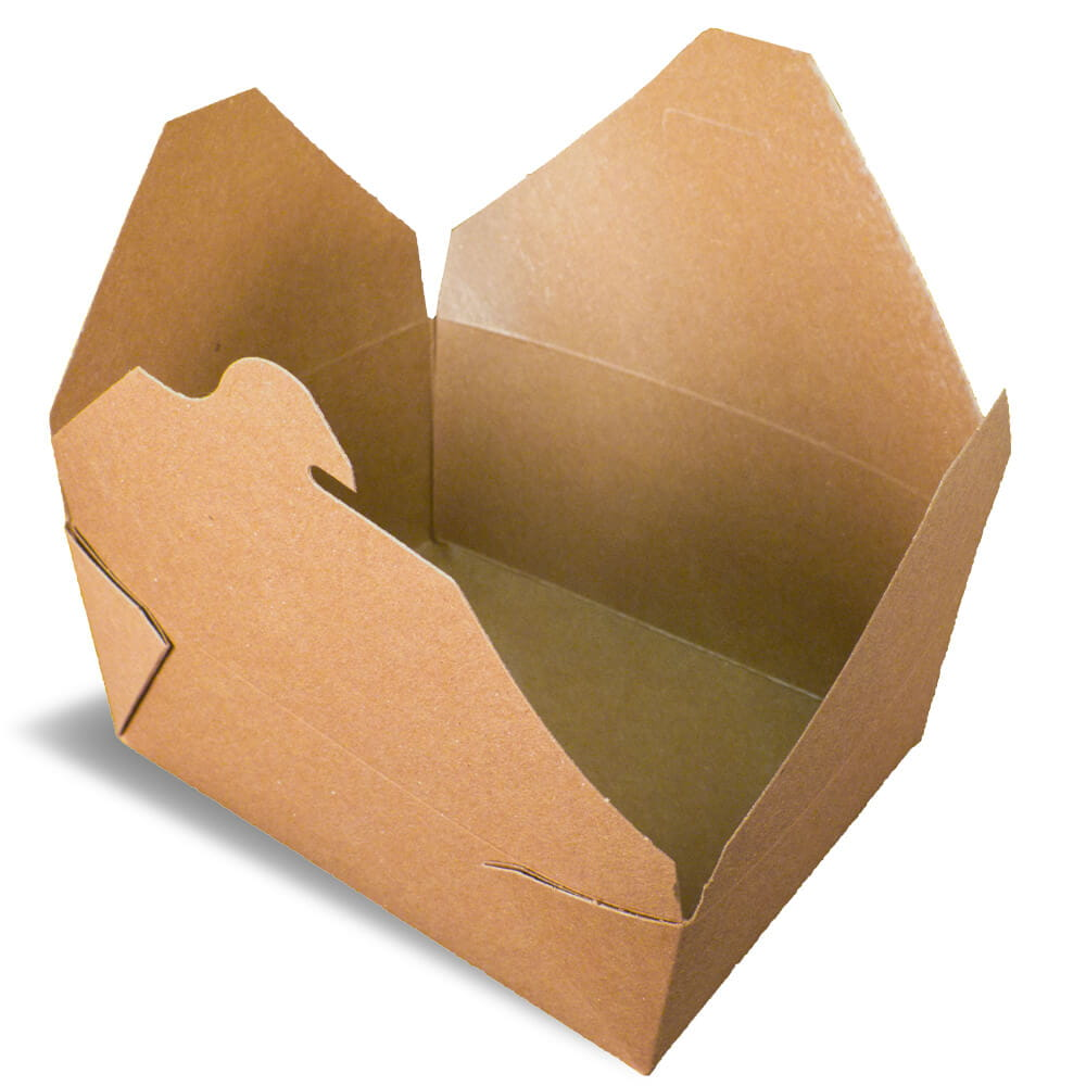 A brown rendering of an Bio-Plus earth folding carton container.