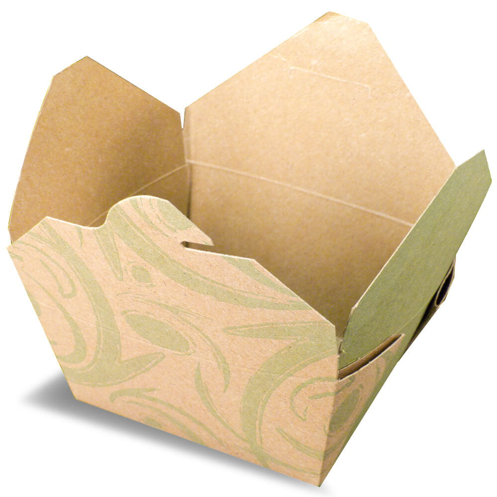 A brown rendering of an Bio-Plus earth folding carton container with printed graphics.