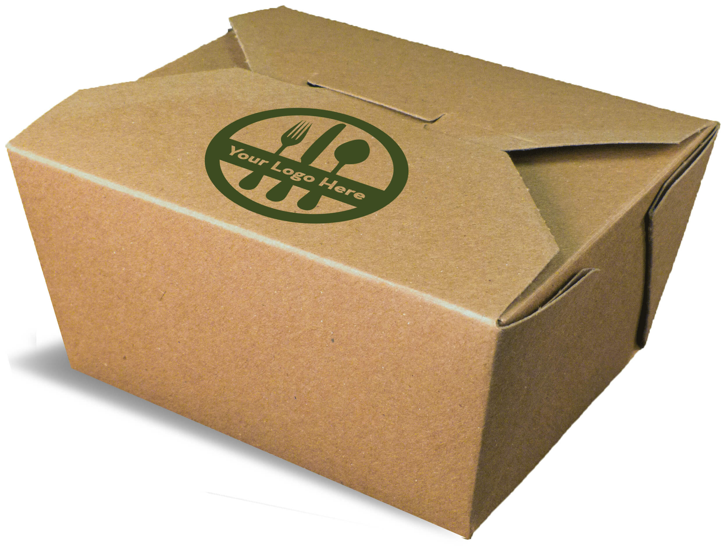 A brown rendering of an Bio-Plus Terra II folding carton container with a printed logo.