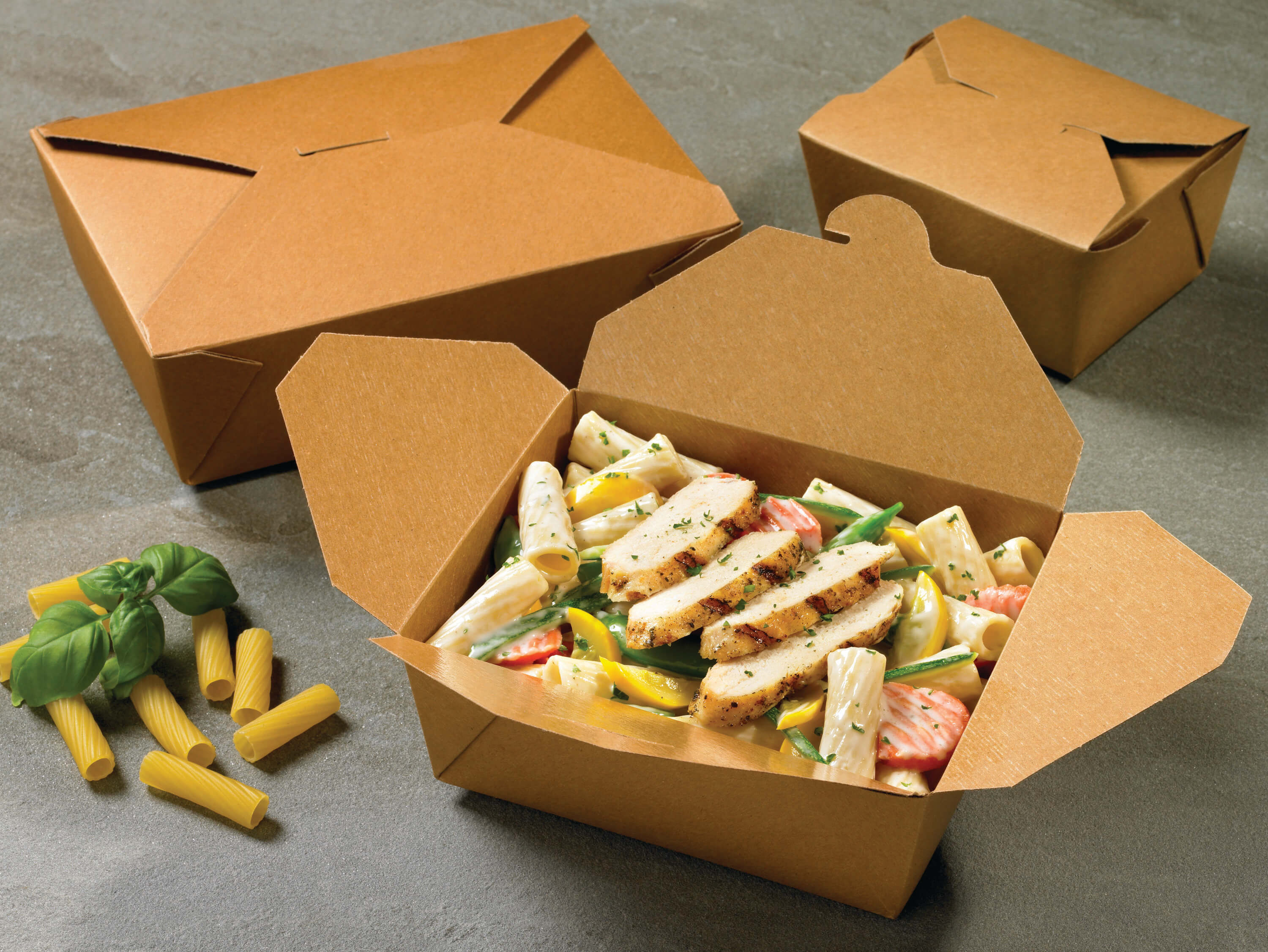 A group shot of Bio-Plus Terra II folding carton containers holding food.