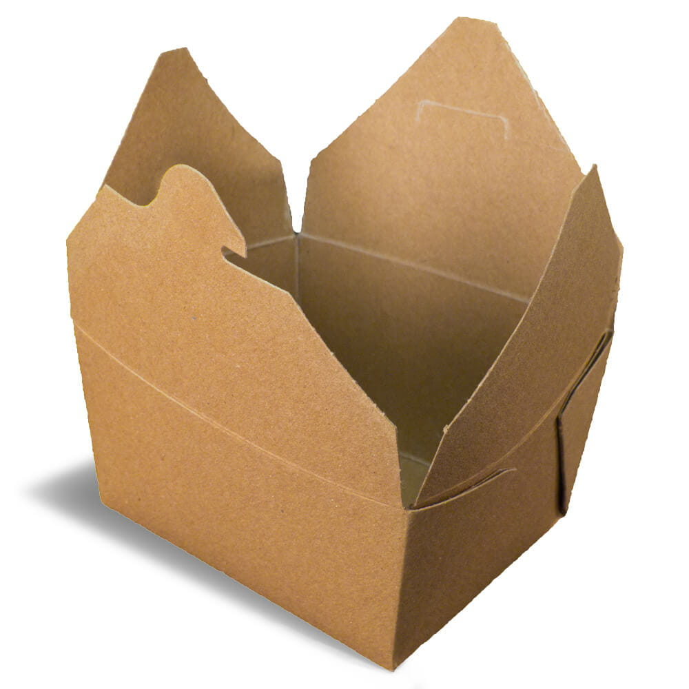 A brown rendering of an open Bio-Plus Terra II folding carton container.