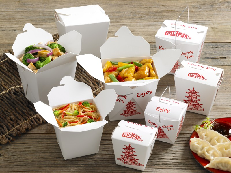 A group shot of Fold-Pak chinese food folding carton containers.
