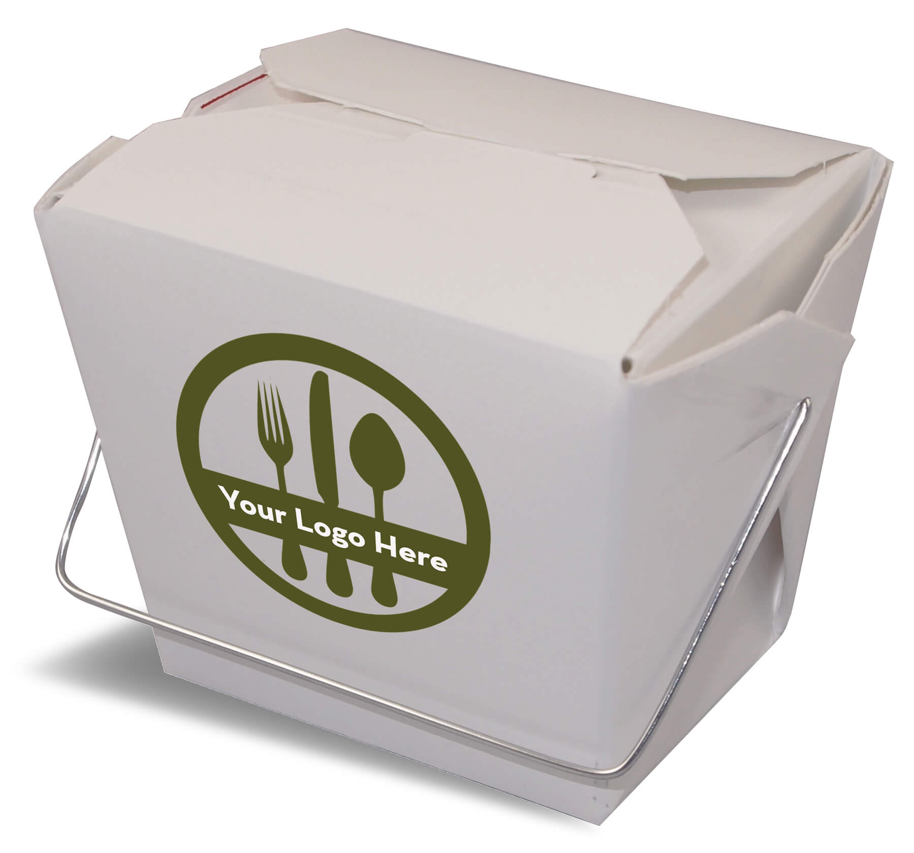 A rendering of a closed Fold-Pak Chinese food folding carton container with a printed logo.