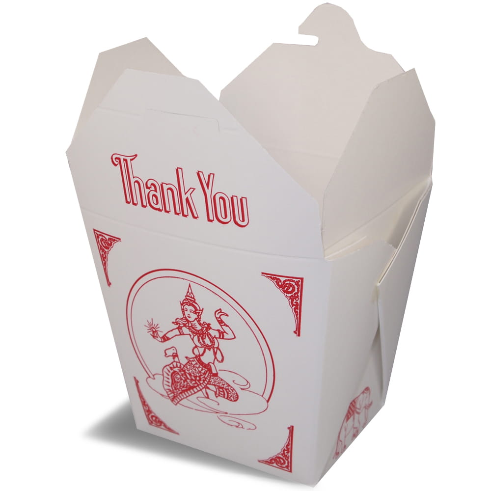 A rendering of an open Fold-Pak Thai food folding carton container with a red printed logo.
