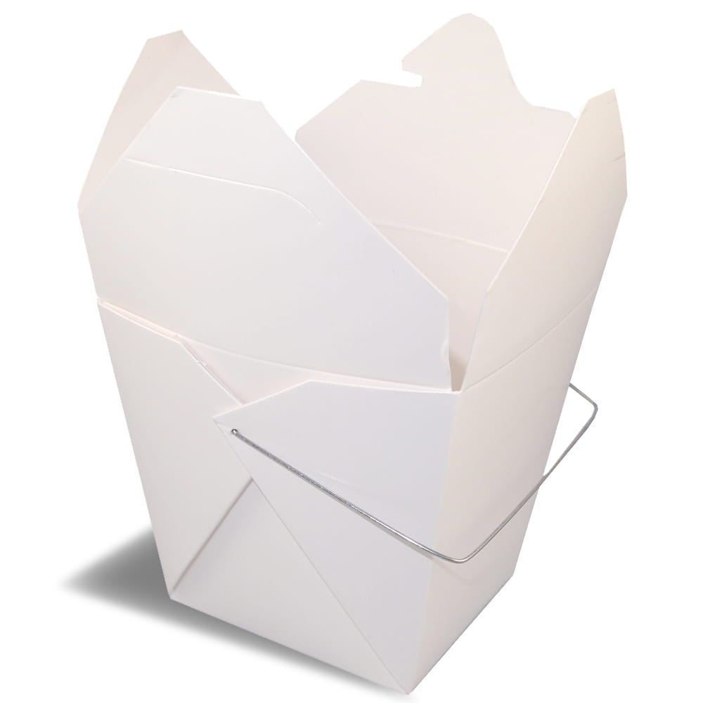 A rendering of an open Fold-Pak Thai food folding carton container with a a holding wire.