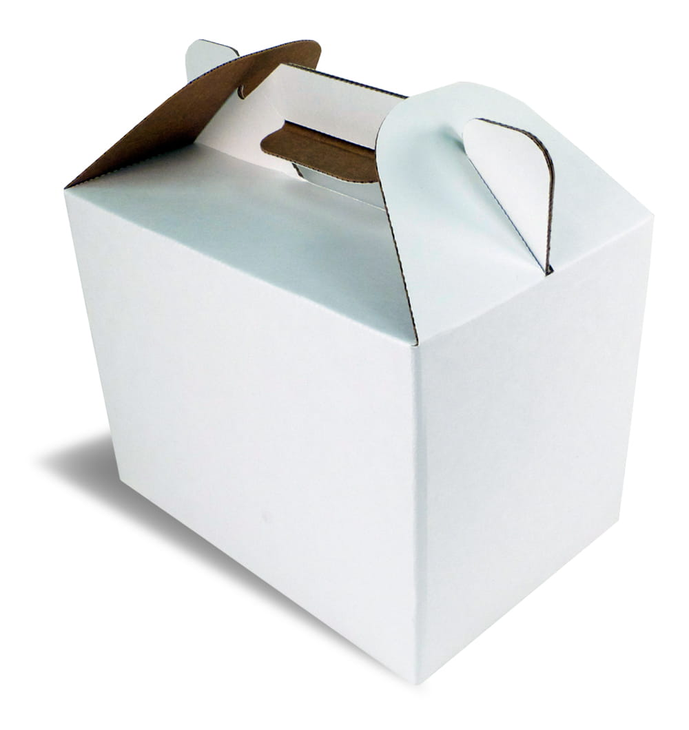 A white closed handled packaging box for fried chicken.