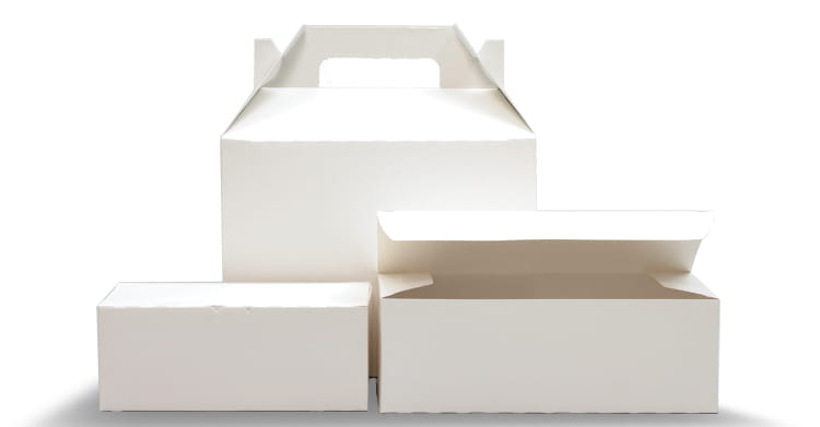 Three white boxes for Barn and Tuck-Top.
