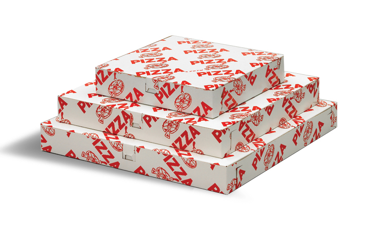 Three white and red pizza boxes stacked on top of each other.