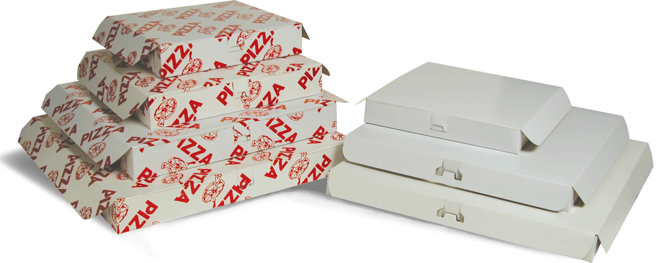 Two stacks of white and red pizza boxes.