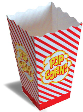 An open popcorn box.