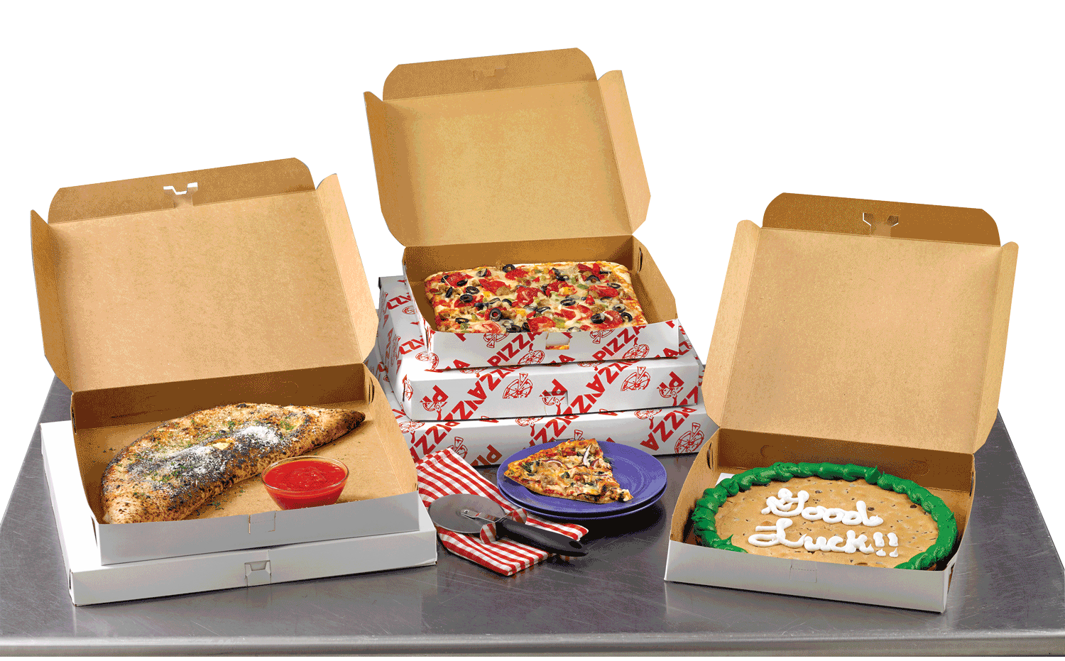 A collection of stock pizza boxes.
