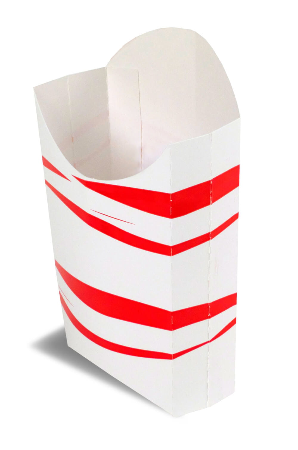 A red and white open FR81 takeout box.