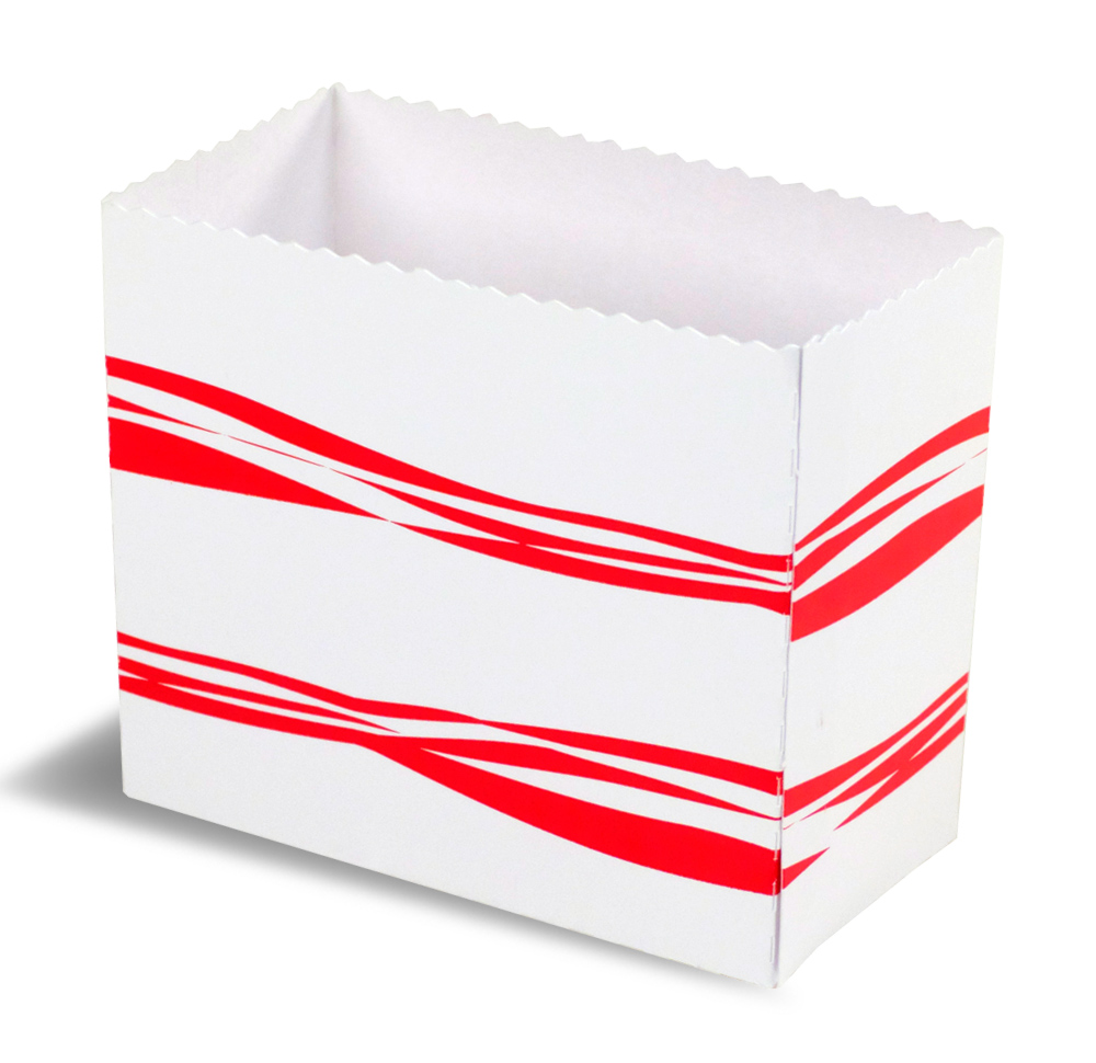 A red and white open HB1 takeout box.